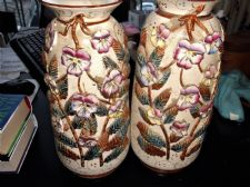 "PAIR ANTIQUE VASES GILDED SCALES HANDPAINTED RAISED PANSIES 12.75"" TLC 366 0"